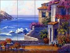 Ceramic Tile Mural Backsplash Senkarik Mediterranean Seascape Villa Art MSA016
