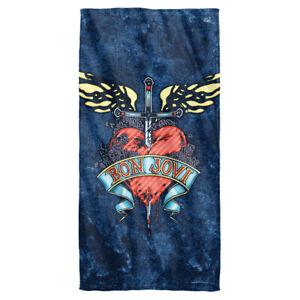 "Bon Jovi ""Weathered Denim"" Dye Sublimation Microfiber Bath Towel"