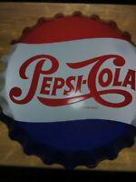 "Vintage ORIGINAL STOUT 0644561 27"" PEPSI-COLA  Bottle Cap Metal SIGN Nice Used"