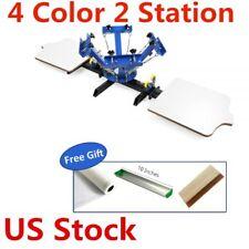 US - 4 Color 2 Station Silk Screen Printing Machine 4-2 Press T-Shirt Printer