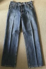 GIORDANO Size 30 Medium Blue Distressed Button Fly Jeans