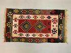 Vintage Turkish Mini Kilim 105x58 cm Shabby Wool Small Kelim Rug Black Red Beige