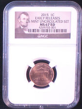 2015-P 1C Shield Lincoln Cent - NGC MS67 RD - Early Releases