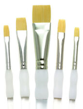 5 SOFT GRIP ARTIST PAINT BRUSH SET FLAT WASH ROYAL LANGNICKEL BRUSHES SG304