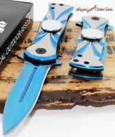 "7"" SNAKE EYE Blue Spear Point Fidget Spinner Tactical Spring Assisted Knife"