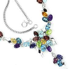Silver 925 Genuine Amethyst, Iolite, Topaz, Citrine & Garnet Necklace 18 Inch