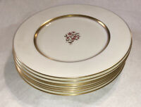 Set Of 8 Vintage Lenox Nydia Pattern Dinner Plates Gold Rim Nice!