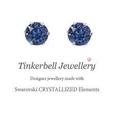 925 Sterling Silver 1 Carat 6mm Stud Earrings w Swarovski Sapphire Blue Crystals