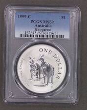 1996-C Australia Kangaroo $1 Silver Coin PCGS MS69