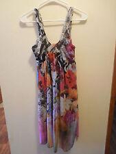 Huevo Blanco Womens Medium Dress Nylon Knee Length Floral Watercolor Print Lined