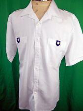 Vintage 1970s Short Sleeve White Poly/Cotton Tropical Resort Yacht Rock Shirt L