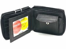 New Mens Bifold Zipper Around Genuine Leather Wallet Pockets Black Coins Pouch