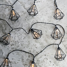 10 Black Diamond Cage Pendant Battery Operated LED Indoor Fairy String Lights