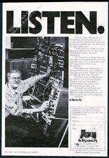 1969 Paul Klipsch photo Klipschorn speakers vintage print ad