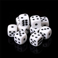 10pcs 16mm White Acrylic Six Sided Round Corner Opaque Dice DV EF