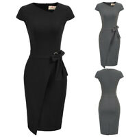 Womens Dress Cap sleeve Hips-wrapped Bodycon Pencil Vintage Casual Evening party