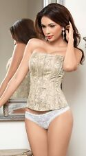 Elegant Romance Ivory Corset, Lace-Up Back & Front Zipper by Escante Lingerie.