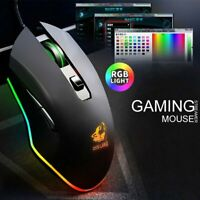 Gaming USB Mouse RGB Backlit Ergonomic Gamer Mice 3200DPI For PC Laptop Win10 OS