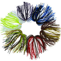 30pcs Fishing Rubber Jig Skirts 50 Strands Silicone Skirts Soft Lure Mixed Color