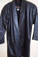 Emily Daniell 100% Leather Black Open Lined 3/4 Sleeve Trench Coat Size - XS