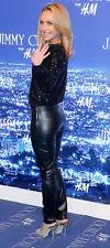 Rare Jimmy Choo H&M Real Leather Leggings Uk 10 Skinny Trousers Black