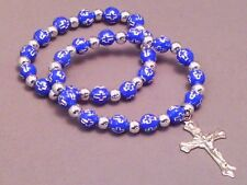 Christian Bracelet Set STAMPED CROSS BEAD Silver Accent Crucifix BLUE LOW STOCK