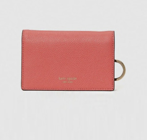 Kate Spade Margaux Small Leather Bifold Key Ring Wallet Peach Melba New $98