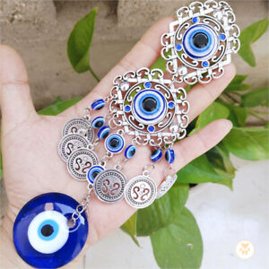Turkish Blue Evil Eye Glass Beads Home Wall Window Hanging Décor Blessing Amulet