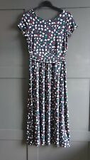 BODEN Alda Jersey Midi Dress Navy Blossom Vine Size UK 10 R