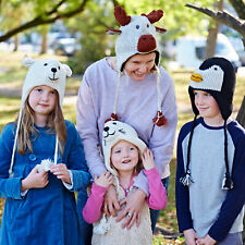 Woollen Animal Winter Hat - 28 Designs - Fleece Lined Ladies Mens Kids Woolly