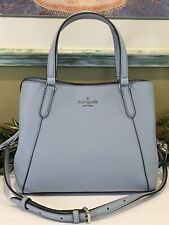 KATE SPADE JACKSON MEDIUM TRIPLE COMPARTMENT SATCHEL BAG FROSTED BLUE LEATHER