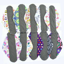 3 Overnight PP CHARCOAL Bamboo Reusable Cloth Mama Menstrual Pads XL 14inch