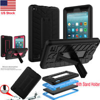Silicone Shockproof Hard Case Cover w/Stand Holder F Amazon Fire 7(7th /9th Gen)