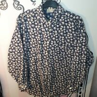 Womens Size 18 Blue Floral Thick Shirt 100% Cotton Long Sleeve Blouse Top