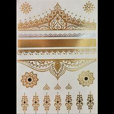 Silver Metallic Temporary Flowers Tattoo Body Henna Transfer Sticker Gold