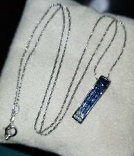 $1300 Designer Ash 14k White Gold shades of Ocean Blue Sapphire Pendant necklace