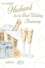 PEARL WEDDING ANNIVERSARY HUSBAND CARD 30 YEARS GOOD QUALITY BEAUTIFUL VERSE