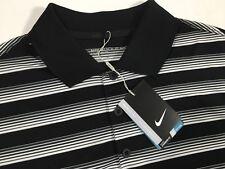 NEW NWT Nike $65 Men's DRI-FIT Stay COOL White Black STRIPE GOLF Polo Shirt 2XL