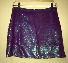 Target Wild Fable Sequin Mini Skirt Purple Teal Shiny Metallic Size S Lined NWT