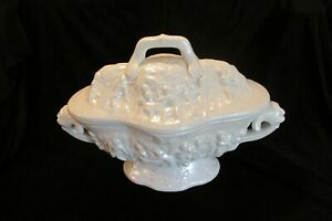 Antique White Ceramic Soup Tureen