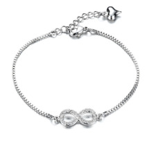 Women Ladies Fashion Classic Stainless Steel Diamond Chain Bracelet Bangle s956