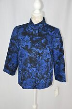 Jones New York Womens XS Black Blue Flower Printed Suit Jacket Button Down NEW