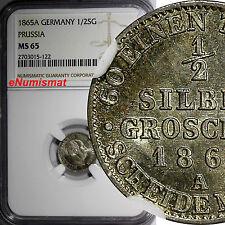 German States PRUSSIA Wilhelm I Silver 1865-A 1/2 Neu-Groschen NGC MS65  KM# 484