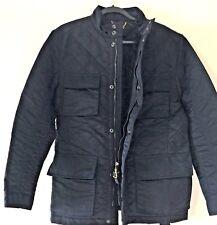 ZARA MAN Black Quilted Jacket w/ 4 Pockets & Belt Zipper Snaps Perfect! L Large