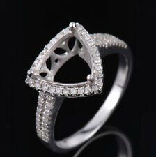 Natural Diamond Semi Mount Ring Prong Setting Trillion Cut 9x9mm 14K White Gold