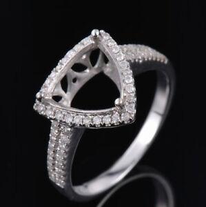 Natural Diamond Semi Mount Ring Prong Setting Trillion Cut 9x9mm 14K White Gold