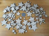 100x 10 - 40mm STAR SHAPES 3mm BLANKS - MDF SHAPES CRAFT TAG