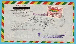 BOLIVIA R air cover 1952 La Paz to USA and forwarded