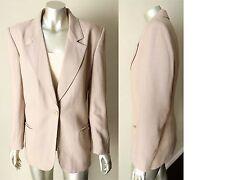 Christian Dior Vintage 80s Linen Plunging Taupe Blazer Jacket sports coat Sz M