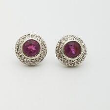 14K 585 White Gold Round-Shape Pink Quartz and Diamond Stud Earrings